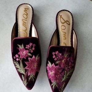 Sam Edelman velvet embroidered burgundy Aven mules